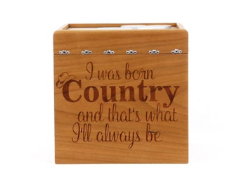 Engraved Keepsake Box - Cherry - Keepsake Box - I was Born Country