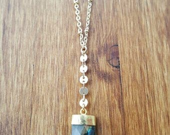 Shark Tooth Faceted Labradorite 14K Gold Filled Y Necklace / Lariat / Labradorite Lariat Necklace / Boho Jewelry / Labradorite Y Necklace