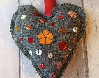 Valentine's day heart, heart decoration, hanging heart decoration, handmade denim heart, shabby chic heart