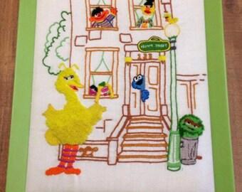 Vintage Sesame Street Embroidered Wall Decor, 1977, Vintage Sesame Street, Big Bird, Cookie Monster, Oscar, Bert, and Ernie