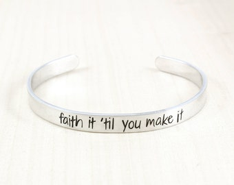 Faith It Til You Make It - Inspirational Jewelry - Empowerment Jewelry - Actually I Can - Empower Women - Gift For Friend - Gifts Under 20