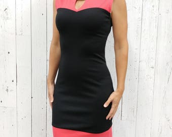 Dress with Sweetheart neckline. Creation from Quebec. Space collection. Black. Turquoise.