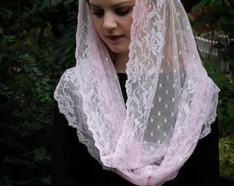 Evintage Veils~ SOFT Chantilly Lace Rose Petal Pink  Lace Chapel Veil Mantilla Infinity Latin Mass