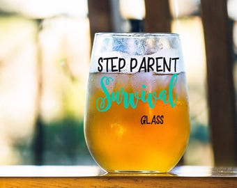 Funny Gift for Step-Parent, Step Parent Survival Glass, Gift for Mom or Dad, Anniversary Present, Birthday Survival Gift for Mother Father
