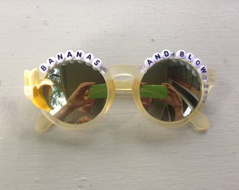 "Ween ""Bananas and Blow"" sunglasses, hand decorated embellished funky festival shades, perfect for Hulaween and HalloWEEN"