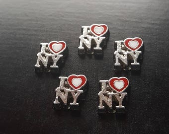 I Love NY Floating Charm for Floating Lockets-Fits All Brands of Glass Lockets-Gift Idea