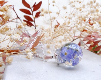 Real flower necklace, forget me not, valentine gift, terrarium necklace, inspirational, blue flower necklace, plant necklace, fairytale gift