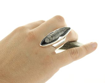 Silver ring Orthoceras. Size: 7.5. Natural fossil. Orthoceras fossil Ring.Silver fossil Ring.Fossil jewel.Orthoceras cabochon. Ring apsarasv