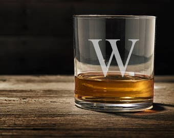 Monogram Engraved Whiskey Glass/Engraved Rocks Glass 11.2 oz. custom whiskey glass, engraved whiskey glass, personalized whiskey glass WG103