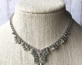 Vintage Necklace/ Silver Necklace/ Rhinestone Necklace/ Diamond Necklace/ Art Deco Necklace/ Bridal Necklace/ Wedding Necklace