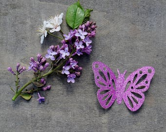 Glitter butterflies, 12 pcs, Butterfly die cuts, Glitter butterfly, Paper butterflies, Glitter paper butterflies, Gold glitter confetti