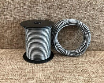 2mm Round Leather Cord - Gray Metallic - Choose 1 Yard to 25 Yards - 2mm Gray Metallic Round Leather Cord Made In India - LCR2-2008