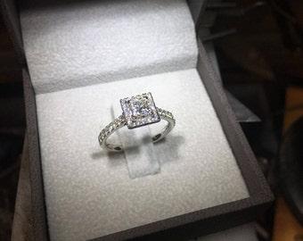 0.5 Carat Halo Ring, Princess Halo Diamond Ring, Diamond Engagement Ring, 14k White Gold Ring, Diamond Gold Ring, Princess  Diamond Ring