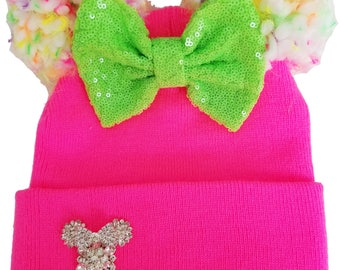 Neon 80's Pink Mickey Minnie Sequin Ears Classic Fit Women's Winter Beanie