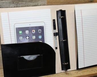 "Leather Binder Portfolio, Three 3 Ring Binder, Leather notebook, Personalized folio, 8.5"" x 11"" portfolio binder"