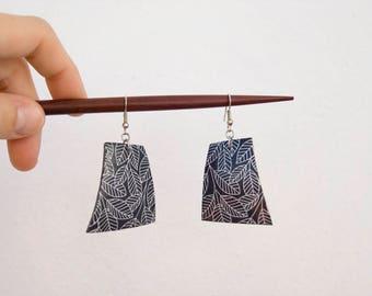 Polymer clay earrings, leaves earrings, dark grey earrings, big polygonal earrings, leaves earrings, hippie earrings, boho earrings
