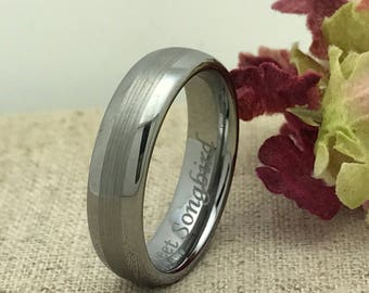 6mm Personalized Tungsten Ring, Custom Promise Ring for Him, Purity Ring, His Wedding Band, LGBT Ring, Grooms Ring