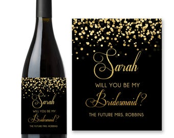 Will You Be My Bridesmaid? Wine Label Proposal Black and Gold Confetti - Wine Labels Bridesmaid Gift, Personalized wine labels, Printable