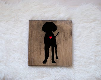Hand Painted Vizsla Silhouette on Stained Wood, Dog Decor, Dog Painting, Gift for Dog People, New Puppy Gift