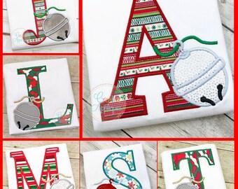 Sleigh Bell Alpha, Christmas Bell Alpha, Girl XMAS Tee, Boy Christmas Shirt, Santa Applique, Polar Express Bell, Boy XMAS Tee