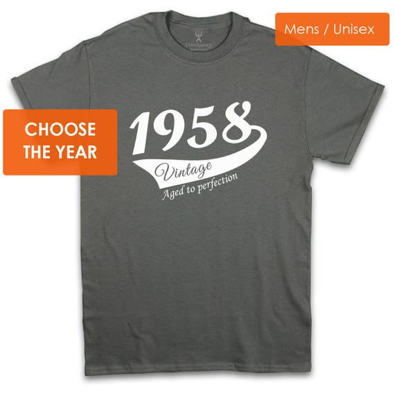 Vintage Aged To Perfection Charcoal Grey T-shirt, Choose a year from: 1960 1961 1962 1963 1964 1965 1966 1967 1968 1969