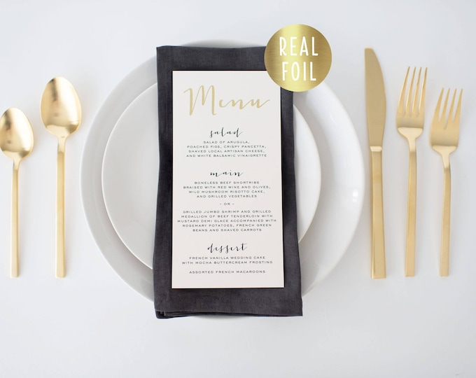 gold foil wedding menus  // gold foil / rose gold foil / silver foil / modern calligraphy custom luxe romantic wedding menu
