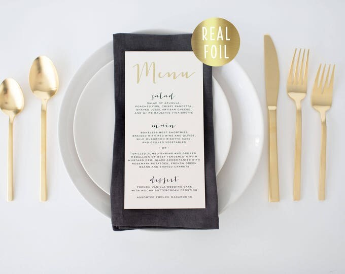 gold foil wedding menus (sets of 10)  // gold foil modern calligraphy custom luxe romantic wedding menu