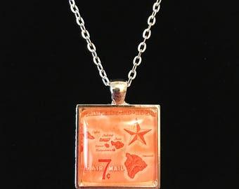Hawaiian Postage Stamp Necklace