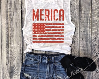 MERICA Flag... Muscle Tee in White Slub/Red Workout Top, Muscle Tank, Fourth Of July, July 4th, Independence, USA, Patriotic,Flag