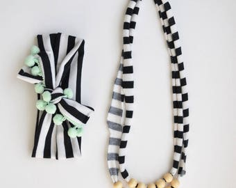 Mommy and Baby B&W Necklace and Headband Set: Double Strand