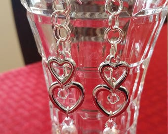 "SILVER HEART EARRINGS - with Swarovski Crystals and Soft Pink Pearls, on Sterling Silver Clad Earring Wires. Measure 2.25"" Length."