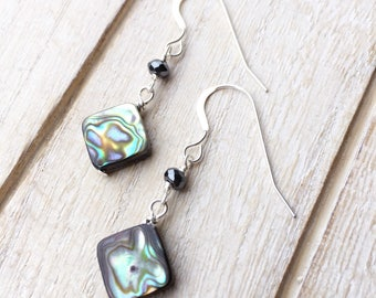 Abalone Earrings, Abalone Earrings Silver, Abalone and Hematite, Abalone Drop Earrings, Abalone Shell, Abalone Diamond Earrings