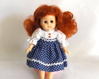 CIJ SALE Vintage 1986 Ginny Doll - Red Head Vogue Doll - White and Navy Polka Dot Dress w Polka Dot Shorts - Pink Heart Stand