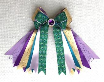 Equestrian Bows/Sparkle Glitter Bling Gem/Purple Teal Green Gold Peacock Print