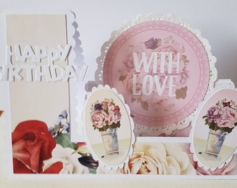 Handmade Decorative Edged Side Stepper Flowers Mum Sister Daughter Nan Wife etc Birthday Card