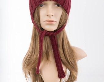 Women Bonnet, Dark Red Cat Ear Hat, Burgundy Earflap Hat, Ear Flap Hat, Ear Flap Cat Hat, Chunky Knit Hat, Skate Hat, Knit hat, Pixie Bonnet