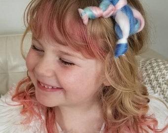 Unicorn hair bow - headband or hair clip