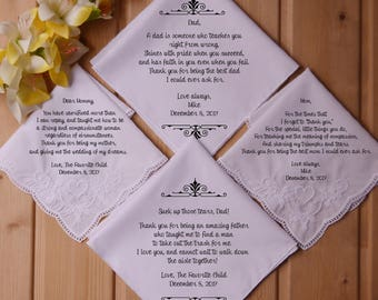 Set of 4  Printed wedding handkerchief for parents of the bride and parents of the groom. Custom hankie set with your own wording and symbol