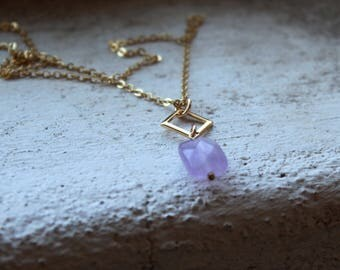 Semi Precious Necklace Gold Filled Gemstone necklace lilac jewelry amethyst necklace boho jewelry gold pendant necklace purple necklace