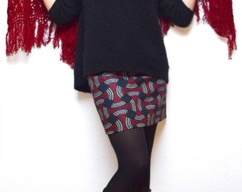 Jupe en wax réversible, jupe courte, jupe imprimée Africain, jupe Ankara, mini jupe, jupe ethnique, jupe africaine, motif Africain ou fleurs