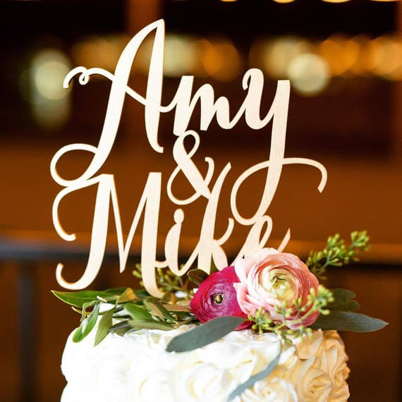 Custom Name Cake Topper, Wedding Cake Topper, Engagement Cake Topper, Bridal Shower Cake, Anniversary Cake Topper, Glitter Cake Topper