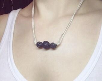 Lava Stone Diffuser Necklace, Lava Bead Necklace, Lava Rock Necklace, Essential Oil Diffuser Necklace, Aromatherapy Necklace, Hemp Necklace