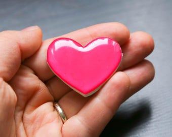 Heart Brooch, polymer clay jewelry, clay pin, resin brooch, resin jewelry, clay brooch, birthday gift, boho style
