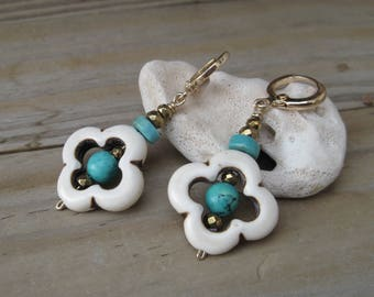 Turquoise and white flower boho earrings, Gold hoop earrings, Gold filled dangle earring, Flower jewelry, gift for sisters, Hippie earrings