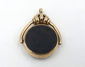 Antique 9ct Rose Gold Spinning Fob Or Pendant | Victorian Edwardian 9k Carnelian And Bloodstone Pocket Watch Chain Fob