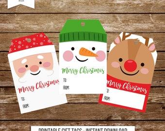 Christmas tags printable Christmas gift tags Christmas favor tags santa claus tags snowman tags reindeer tags printable tags holiday tag 135