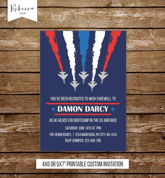 air force invitation going away military invitation army