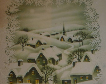 Village Covered in Snow Vintage Christmas Greeting Card
