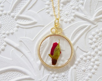 Red Rose Gold Circle Pressed Flower Necklace
