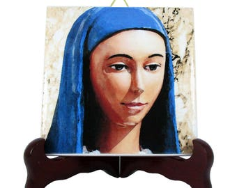 Our Lady of Kibeho, Blessed Virgin Mary Art - Italian pottery, collectible ceramic tile, Virgin of Kibeho, Black Madonna, Our Lady of Africa